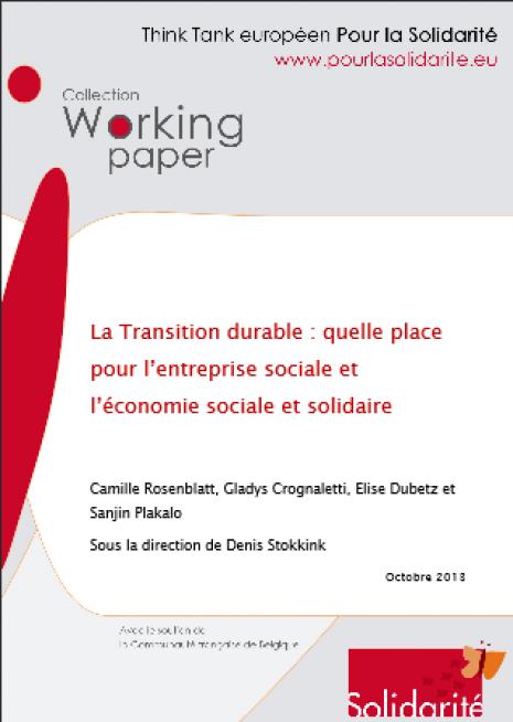 image couverture La Transition durable : quelle pl ace pour l'entreprise sociale et l'économie sociale et solidaire