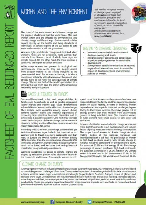 EWL factsheet on Women and the Environment